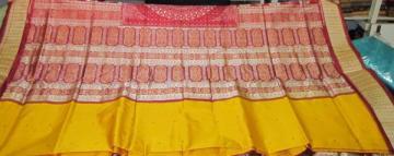 Orissa Handloom bomkai-ikat designer Saree Sari in Yellow-Maroon
