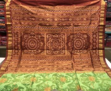 Parrot and lotus motifs body with Jhoti Aanchal Tissue Silk Ikat Saree with Blouse