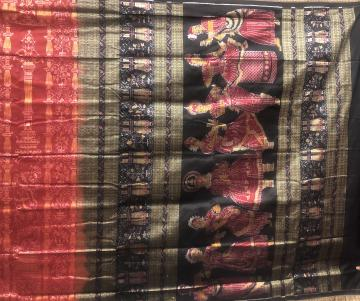 Master weaver s creation Indian Classical Dance Forms with mudras Silk Saree with Blouse Piece