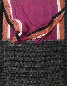 Simple Elegant Border and Aanchal Ikat work Cotton Saree with Blouse Piece