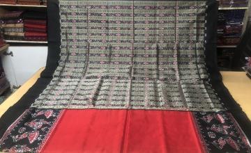 Dancer motifs border with Bomkai and Ikat work Aanchal Silk Saree with Blouse Piece