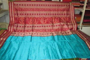 Orissa Handloom bomkai-ikat designer Saree in Copper sulphate - Maroon