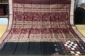 Pasapalli Skirt Border with peacock and animal motifs Aanchal Silk Ikat Saree with Blouse Piece