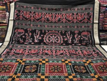 Elephant and worship woman motifs Aanchal Utkallaxmi Silk Saree with Blouse Piece