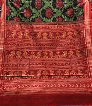 Parrot and Lotus Motifs Intricately woven Cotton Ikat Saree with Blouse Piece