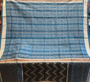 Tribal motifs and all over Ikat work Silk Saree with blouse Piece