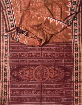 Pasapalli and Fish border Peacock and animal Motifs Cotton Ikat Saree with blouse piece