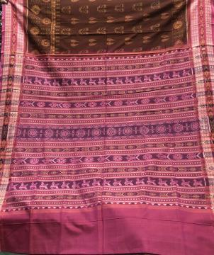 Laxmi pooja theme with Fish motifs border and bird motifs Aanchal Cotton Ikat Saree with blouse