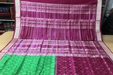 Traditional and tribal motifs Half and half Skirt pattern Ikat Silk Saree