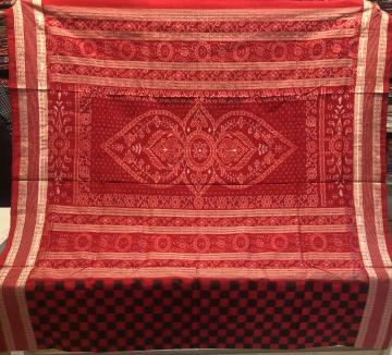 Traditional Jhoti Aanchal Red and Black Body Checks Silk Saree with Blouse Piece