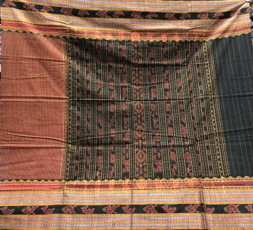 Master Weaver s Creation body Checks Rudraksh and fish border Traditional Pallu Cotton Ikat Saree