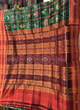 Traditional Khandua Nabakothi Silk Saree in Green Red combination without Blouse