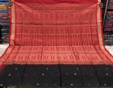 Black and Red Traditional Bomkai Silk Saree with Blouse Piece