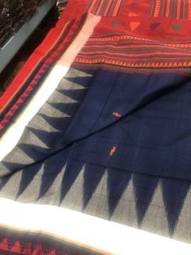 Contrast borders Cotton Dongria Saree with Blouse Piece