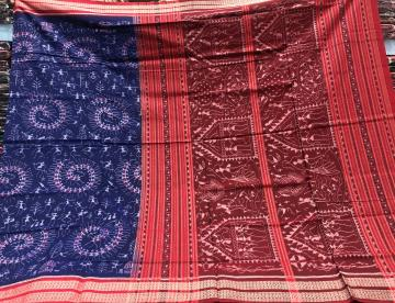 Intricately woven Tribal Motifs Ikkat Cotton Saree with Blouse Piece