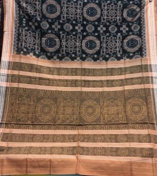 Intricately woven Laxmi puja Theme Cotton Ikat Saree with blouse Piece
