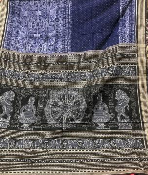 Intricately woven wheels and temple sculptures motifs Double Ikat Cotton Saree with Blouse Piece