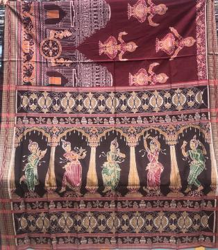 Exquisite Temple and dancer Motifs Cotton double Ikat Saree with Blouse Piece