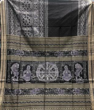 Exclusively woven Heritage theme Cotton Ikat Saree with Blouse Piece
