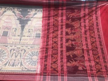 Temple wheel Dancer Motifs double Ikat Cotton Saree with Blouse Piece