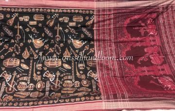 Musical Instruments Theme Cotton Ikat Saree with Blouse Piece
