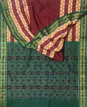 Traditional Aanchal All over Ikat work Cotton Saree without Blouse Piece
