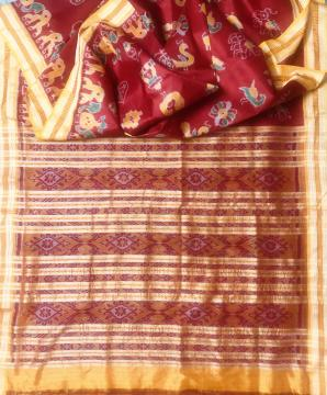 Traditional Motifs Khandua Ikat Silk Saree without Blouse Piece