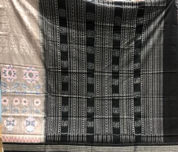 Flowers and pot motifs Cotton Ikat saree with blouse piece
