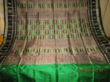 Orissa Handloom Doll border and aanchal Bomkai design Saree Sari in Green-Black
