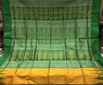 Temple Border with Butis Traditional Silk Bomkai Saree with Blouse Piece