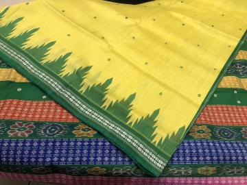 Phoda kumbha border double Aanchal Berhampuri Silk Saree with Blouse Piece