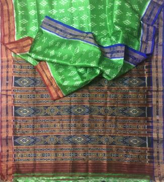 Ganga Jamuna Border Body Pasapalli work Khandua Silk Saree without Blouse Piece