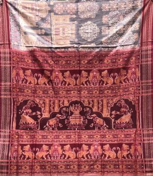 Taj Mahal Motifs body with Kalash and elephant motifs Aanchal Cotton Double Ikat Saree with Blouse