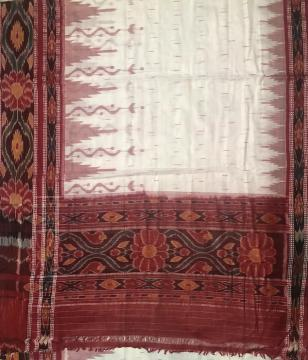 White and Red Nuapatana Cotton Ikat Saree without Blouse Piece