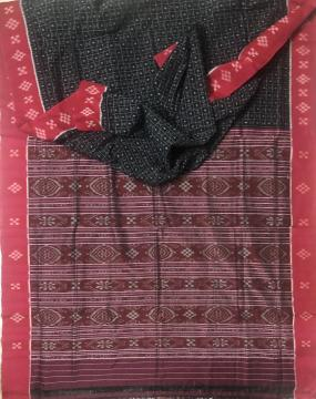 Pasapalli Border Traditional Aanchal Body Checks Cotton Ikat Saree without Blouse Piece