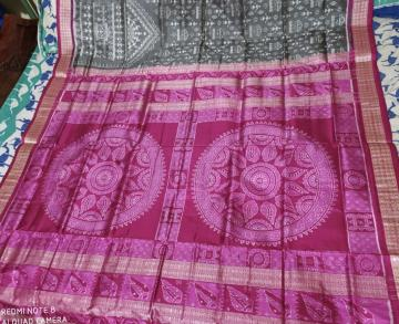 Conch Motifs Aanchal with Tribal Motifs Body Silk Ikat Saree with Blouse Piece