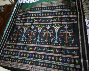 Beautiful Ganjam Bomkai Silk Saree with Blouse Piece