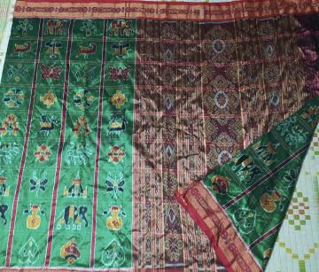 Green and Red Traditional Nabakothi Khandua Silk Saree without Blouse Piece
