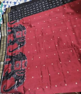 Exclusively Woven Elephant Motifs Om Border and Aanchal with all over Blouse work Ikat Silk Saree