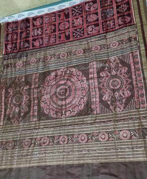 Traditional Jhoti Aanchal Nabakothi Sambalpuri Silk Saree with Blouse Piece