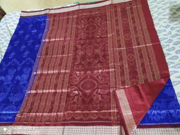 Exclusively woven Worship ladies motifs Ikat Silk Saree with Blouse Piece