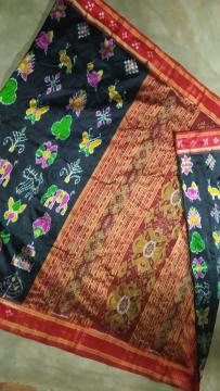 Pasapalli Border Nabakothi motifs Khandua Silk Saree without Blouse Piece