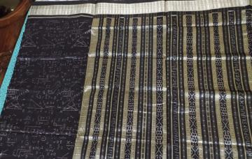 Intricately woven mathematical expressions Ikat Silk Saree with blouse piece