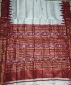 White and Red Khandua Silk Saree without Blouse Piece
