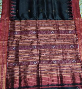 Black Traditional Khandua Silk Saree without Blouse Piece