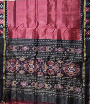 Maroon Black Combination Pasapalli border Khandua Silk Saree without Blouse Piece