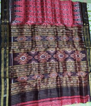Traditional Aanchal all over Ikat work Khandua Silk Saree without Blouse Piece