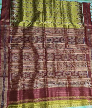 Ikat weave Khandua Silk Saree without Blouse Piece