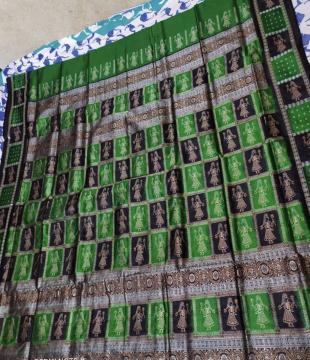 Doll Border and Aanchal Bomkai Silk Saree with Blouse Piece