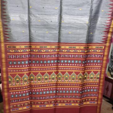 Exclusively woven three shades of Tasar Dolabedi Saree with Blouse Piece
